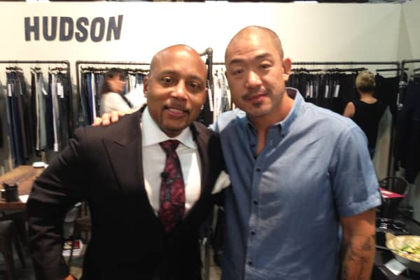 "Daymond John, of ""Shark Tank"" with Peter Kim, the Founder/CEO of Hudson Jeans."